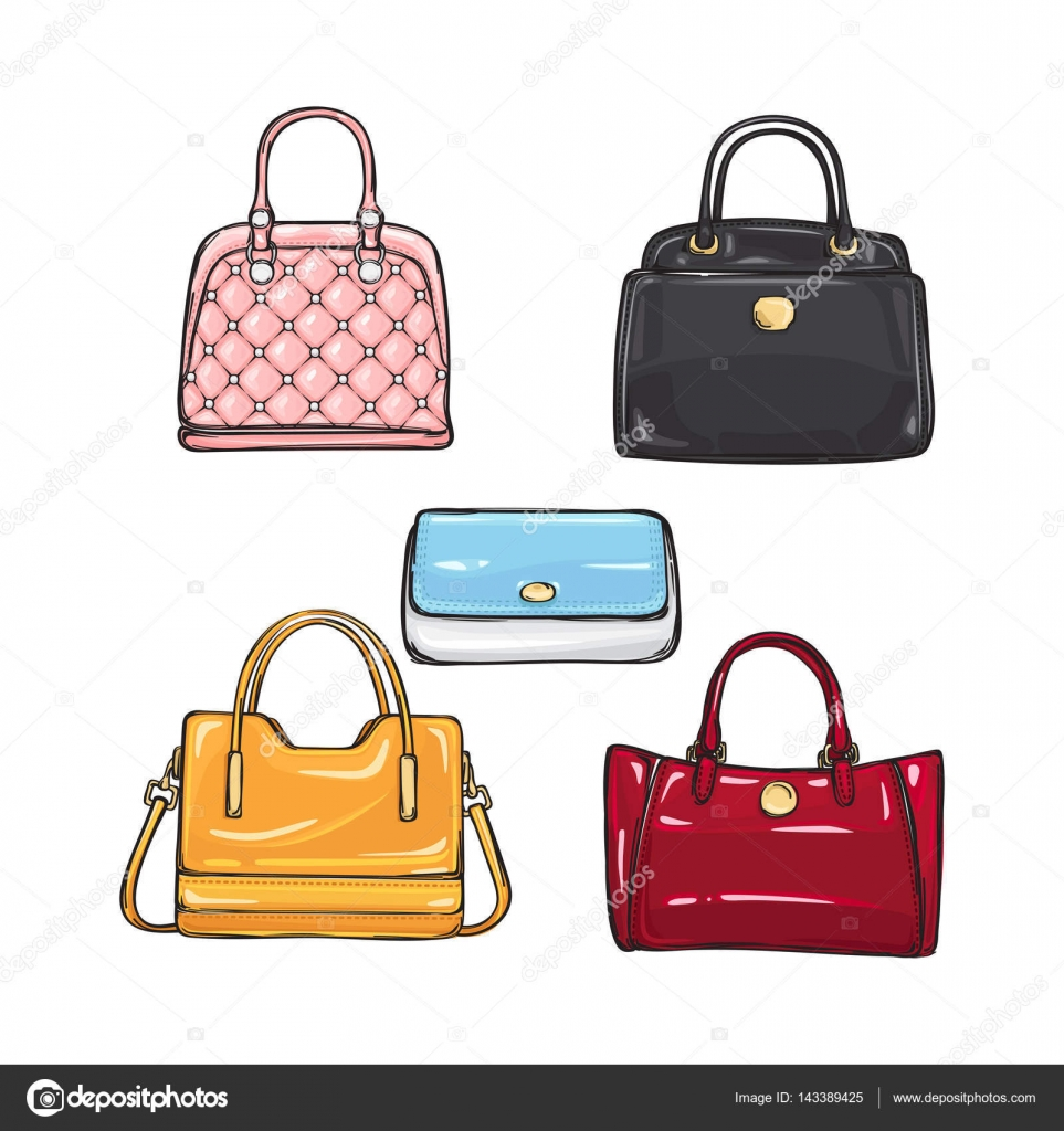 76d1e15506 Collection of different illustrations with handbags for women. Various  shape