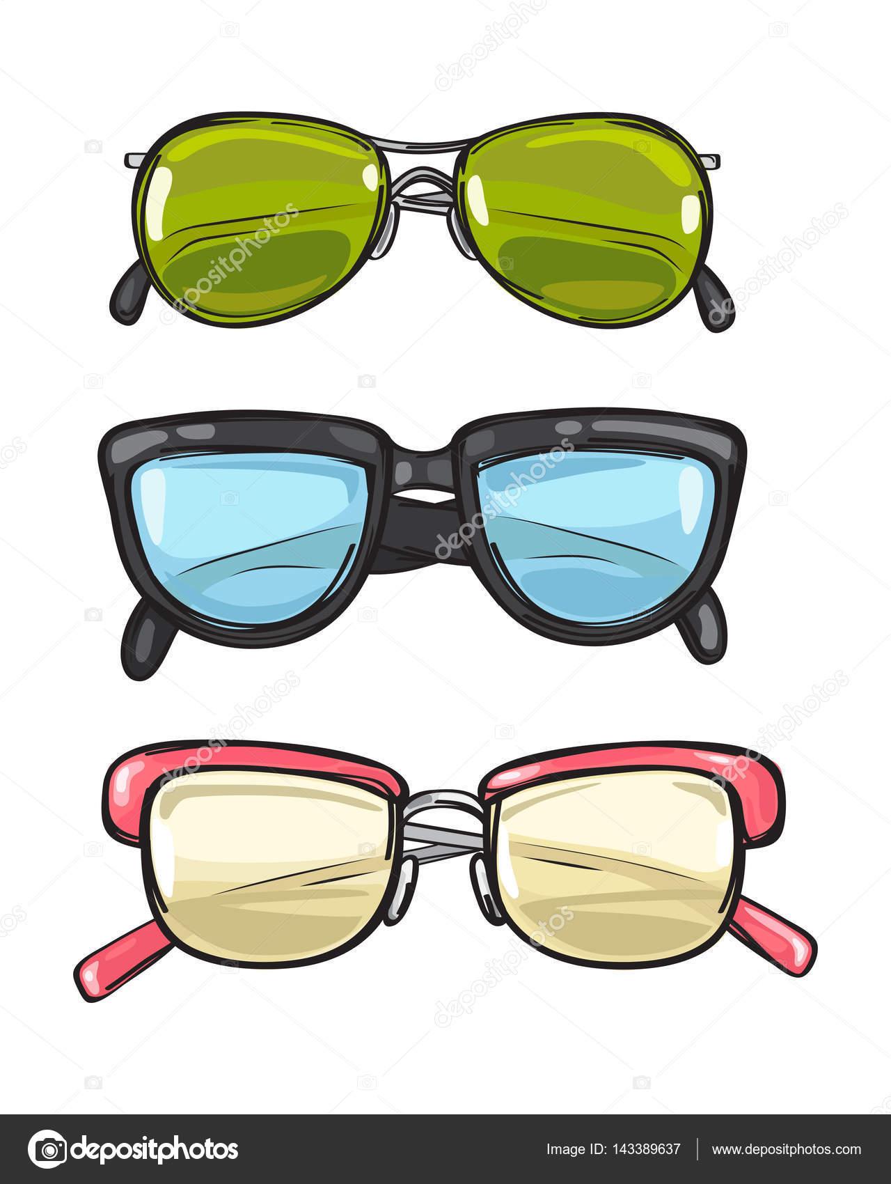 1c3c796e42854c Drie paar zonnebril. Verschillende brillen — Stockvector © robuart ...