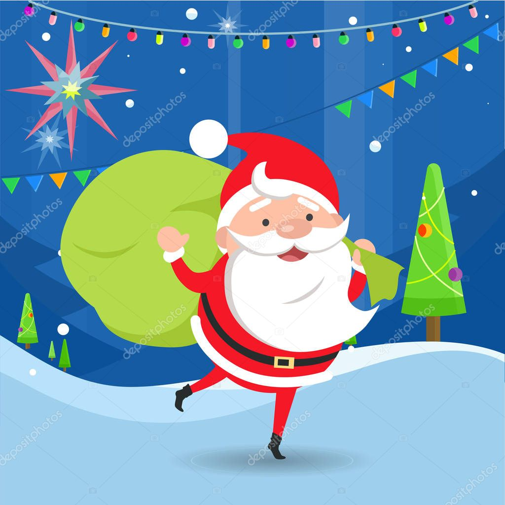 Santa Claus Waving and Holding Bag with Gifts