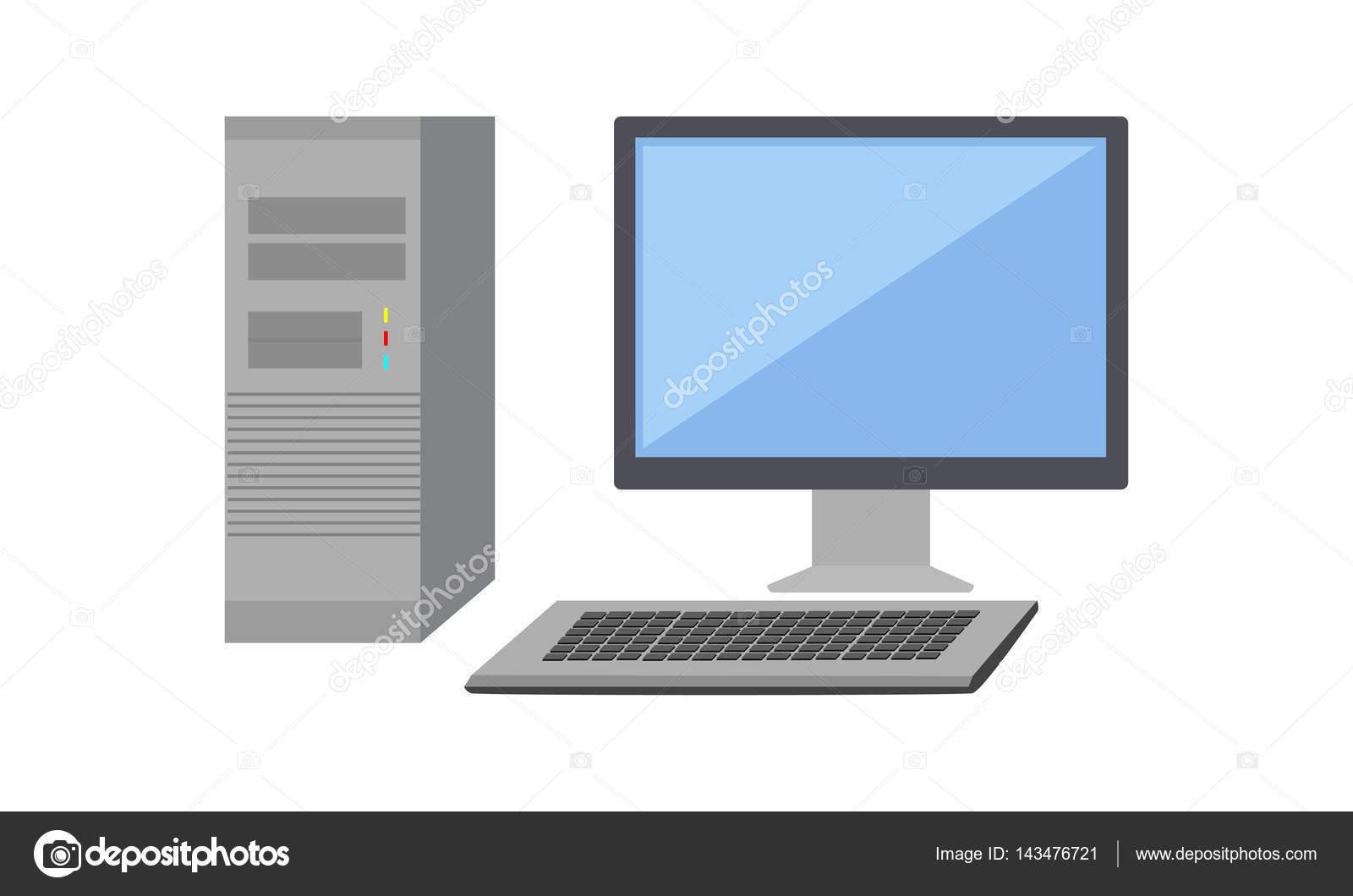 computer monitor with computer system unit stock vector robuart