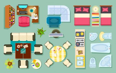 Flat interior top view. Living room, bathroom, bedroom. kitchen, office room. Modern furniture in isometric style. Pieces of furniture and household utensils. Cosy house design. Vector illustration clip art vector
