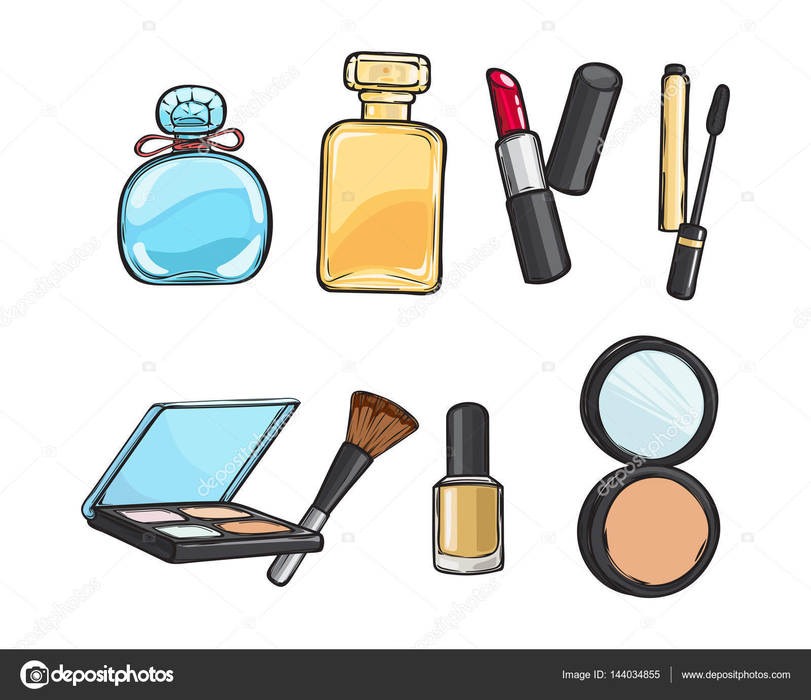 Collection of Make-up Things. Lipstick. Powder — Stock ...