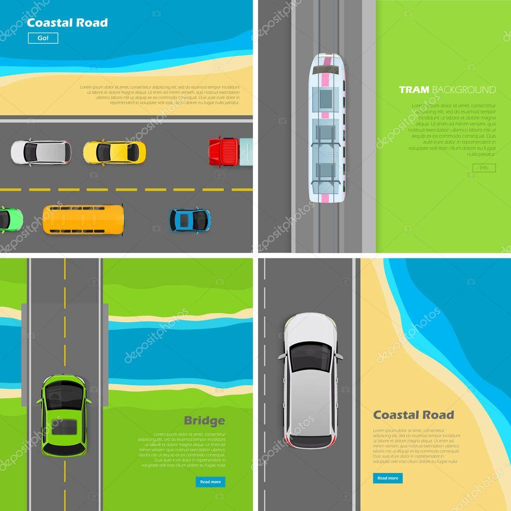 Modern highway Flat Vector Web Banners Set