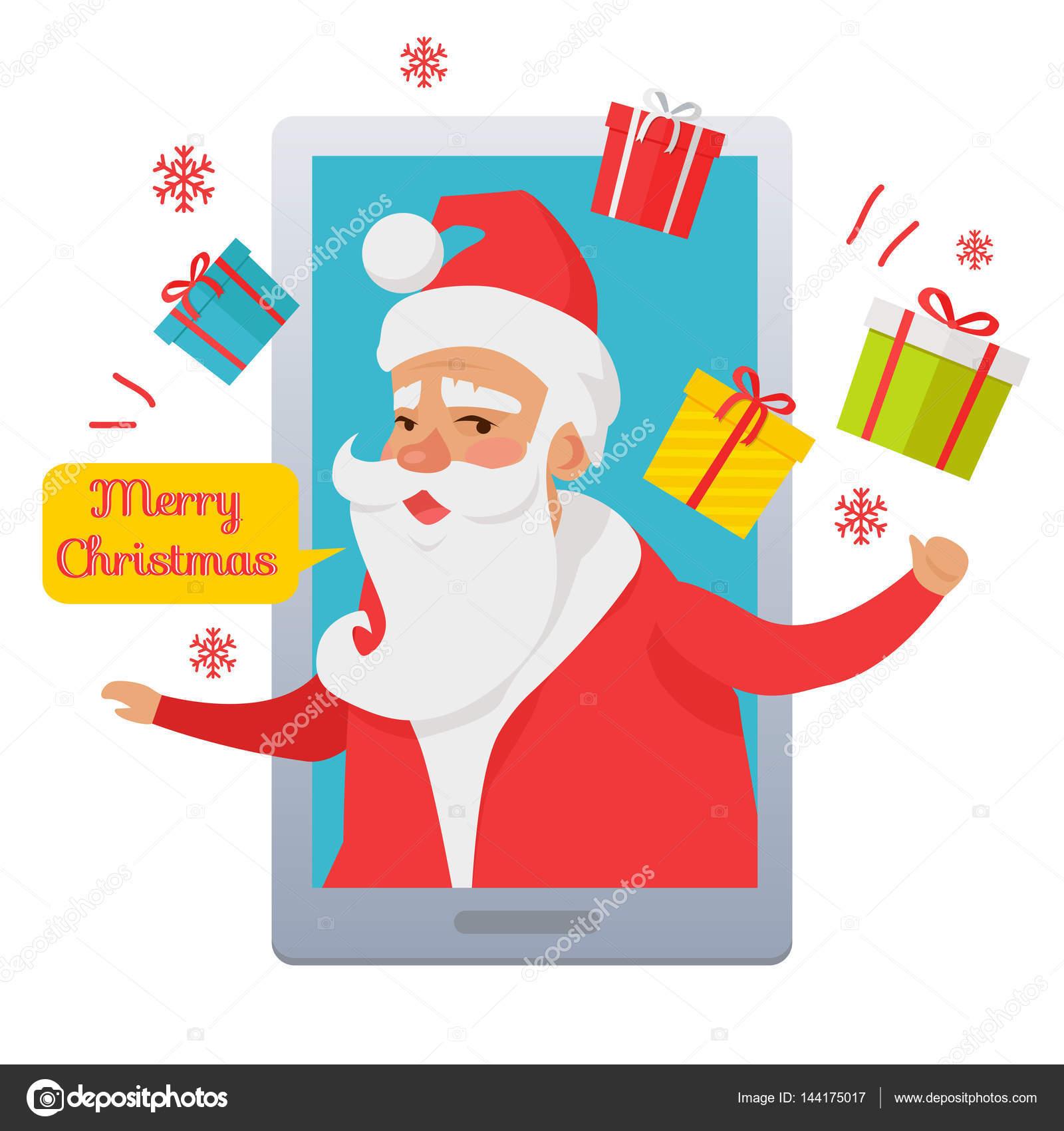 Frohe Weihnachten. Santa Claus im Handy — Stockvektor © robuart ...