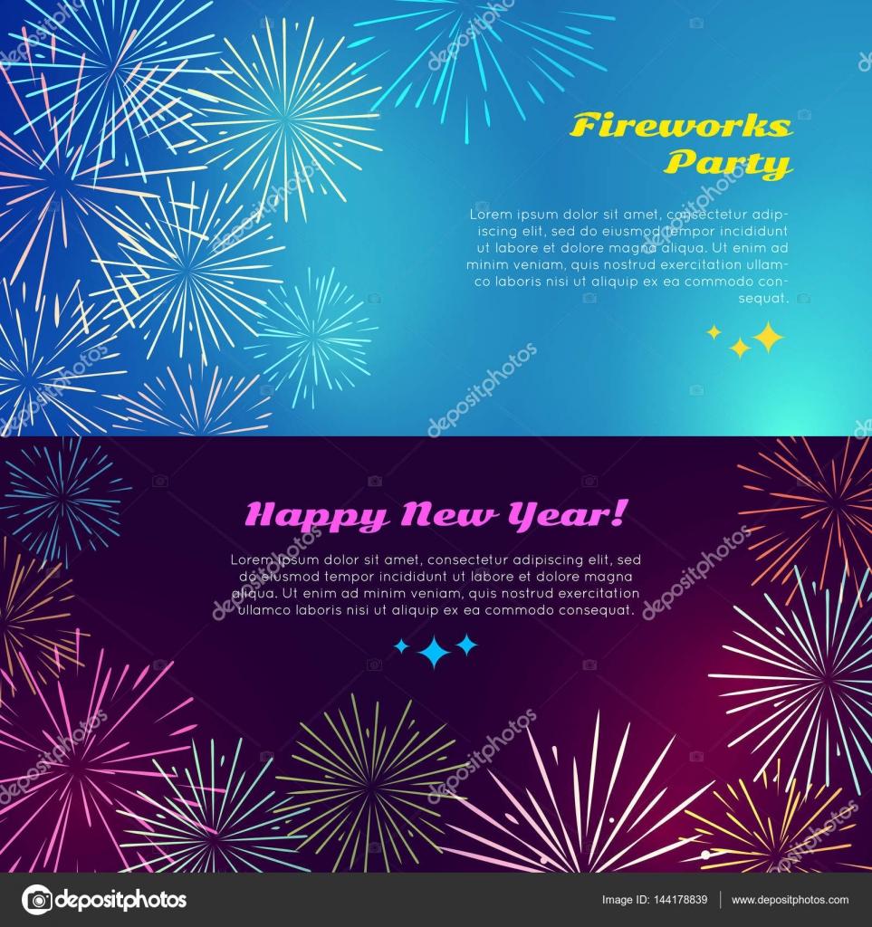 Frohes neues Jahr. Feuerwerk-Party. Gruß Elemente — Stockvektor ...