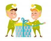 Fotografia Due elfi felici con il presente su priorità bassa bianca