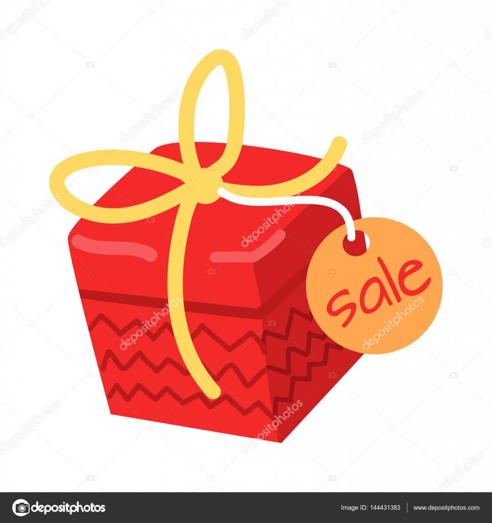 Großes rotes Geschenk für den Verkauf auf weißem Hintergrund ...