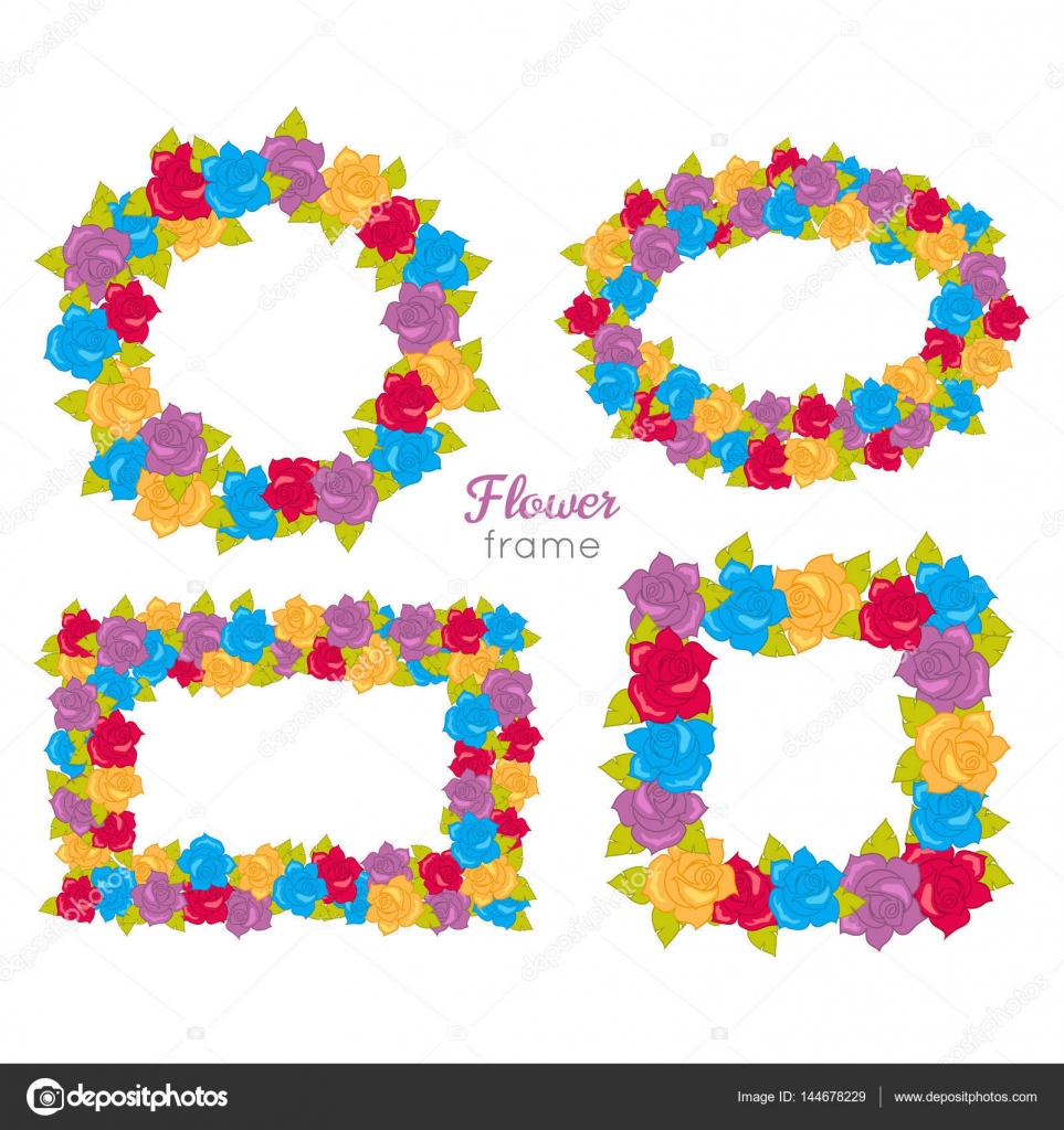 Marco de flores. Conjuntos de guirnalda de flores varias — Archivo ...