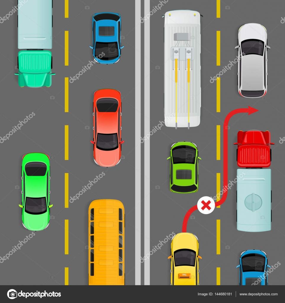 Überholen in dichtem Verkehr fließen Zeigerdiagramm — Stockvektor ...