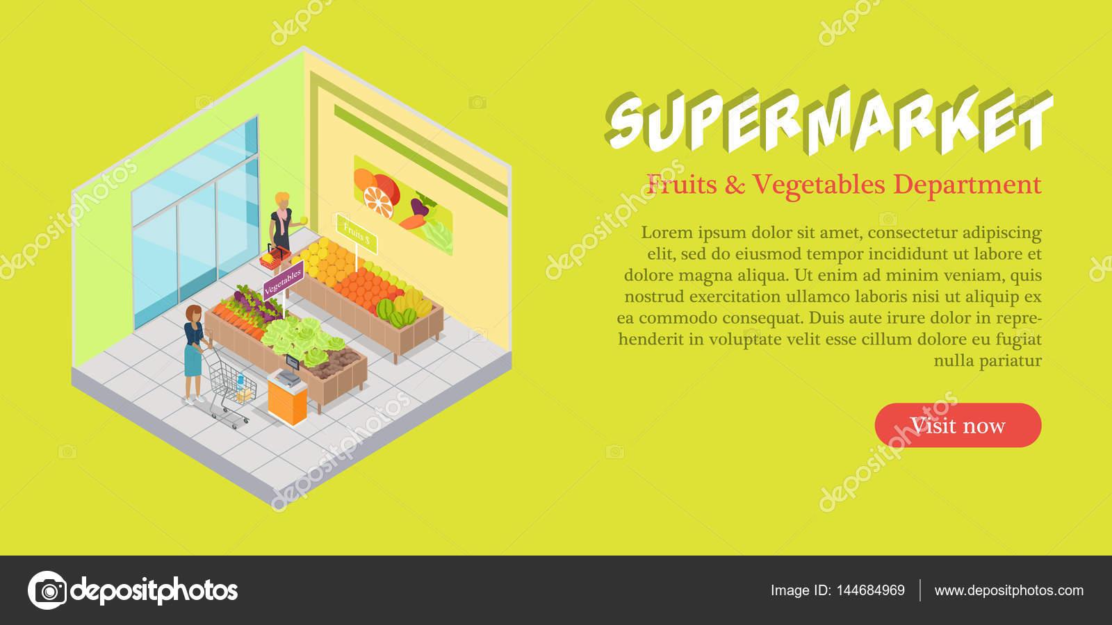 605c1b2499bd Banner de supermercado frutas legumes departamento — Vetores de Stock