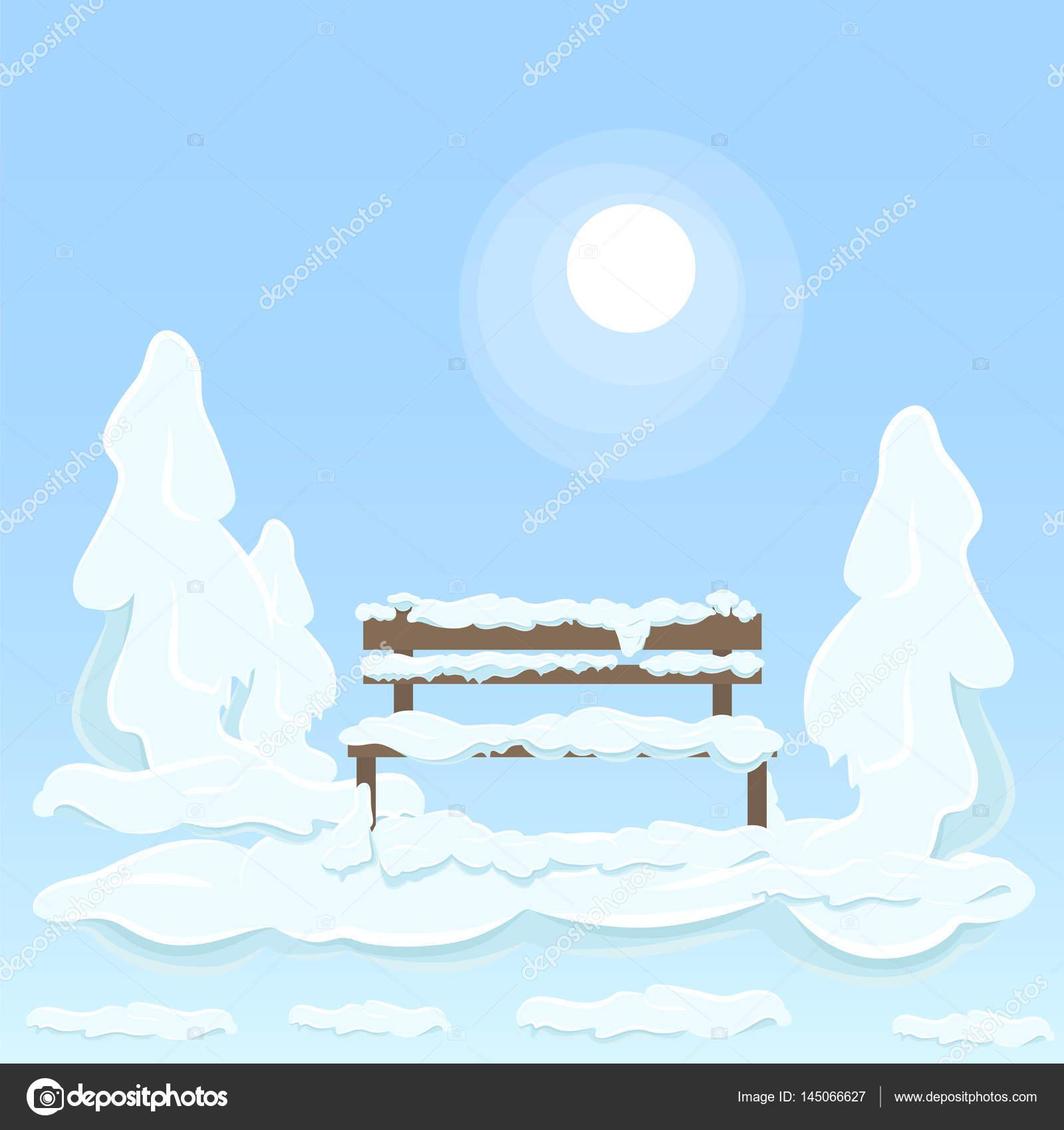 ツリー間の積雪下で隔離された木製のベンチ ストックベクター