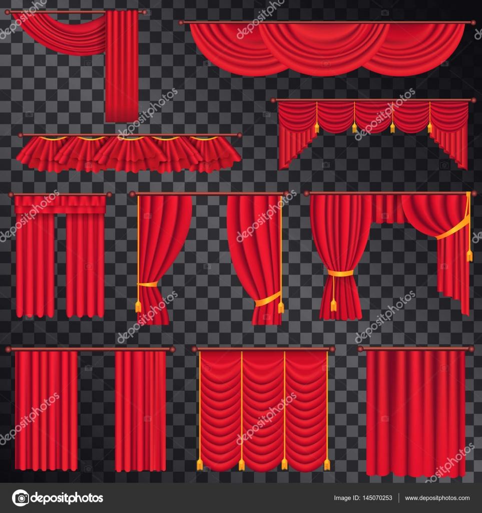 cortinas rojas para la coleccin de teatros en negro u ilustracin de stock