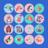 Fotografie Set of Vector Icons with Cartoon Animal Cupids