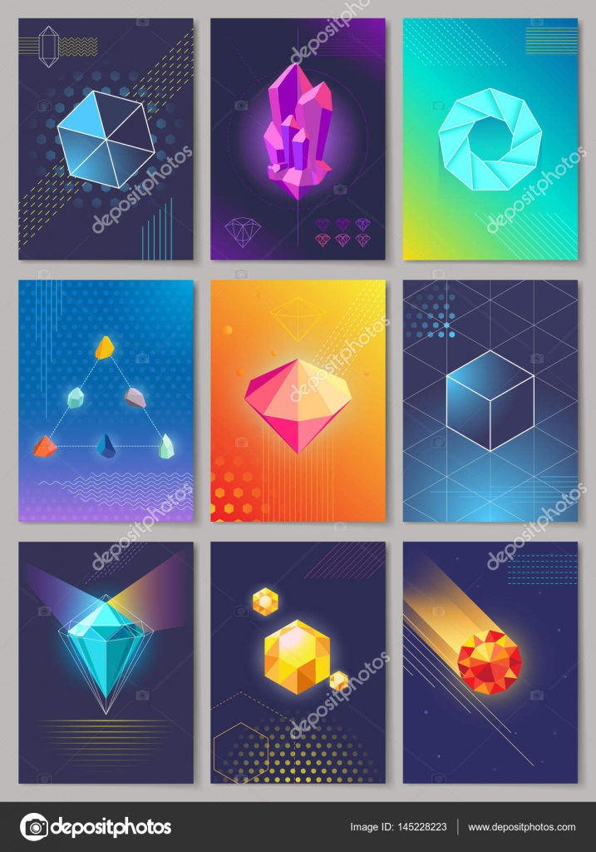 Precious Stones Colourful Collection of Nine. — Stock Vector ...