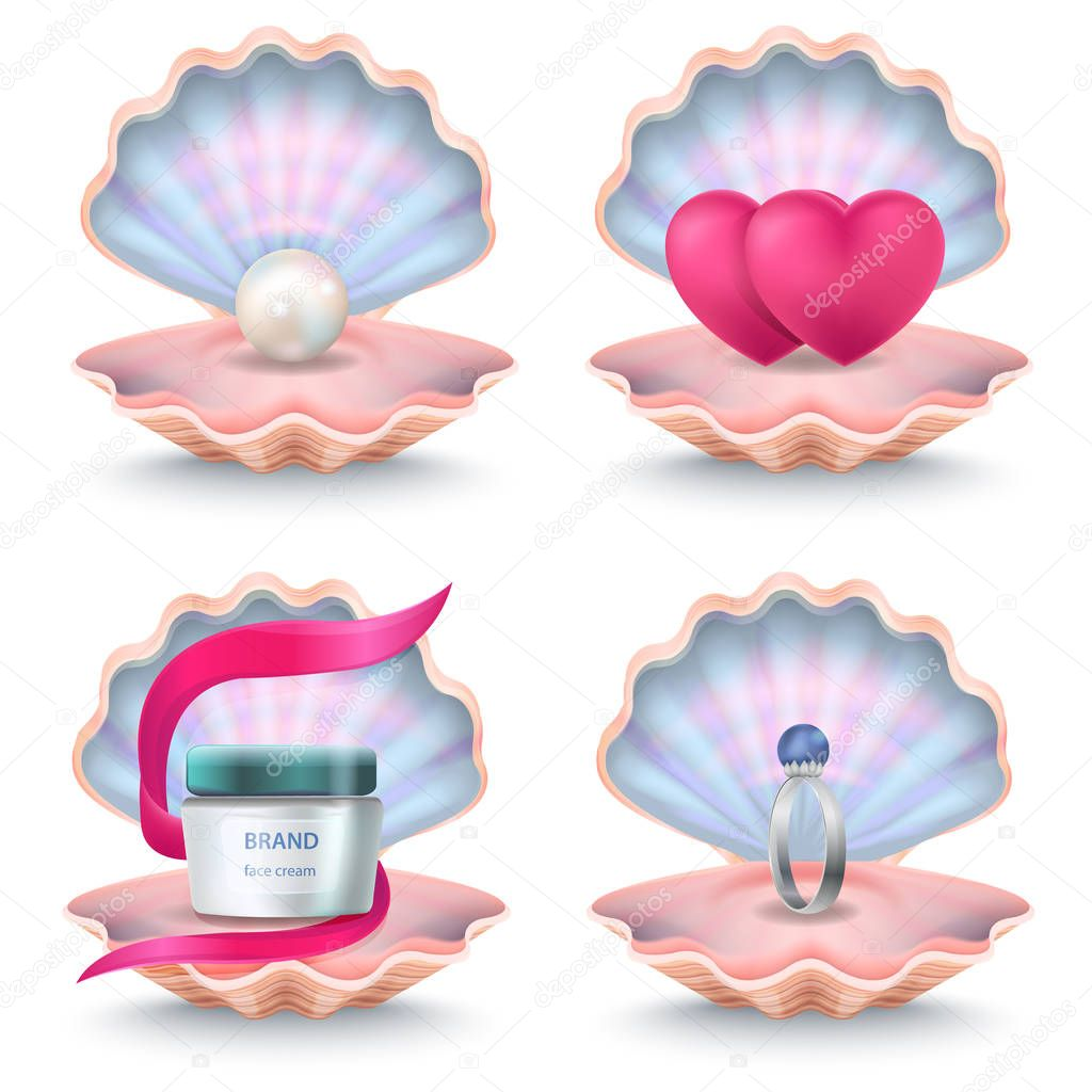 Shells with Face Cream, Pink Hearts, Wedding Ring
