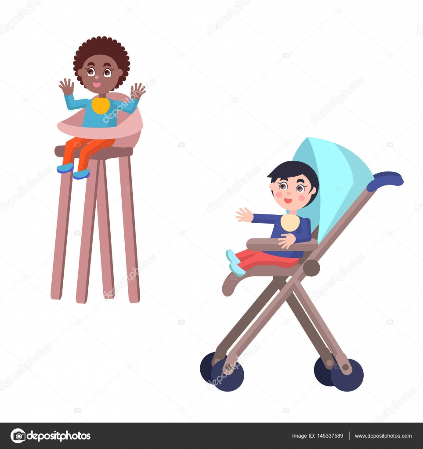 Kinderstoel Voor Peuters.Peuters In De Kinderwagen En Kinderstoel Vectoren Stockvector