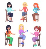 Young Women Seating on Chairs Flat Vector Set