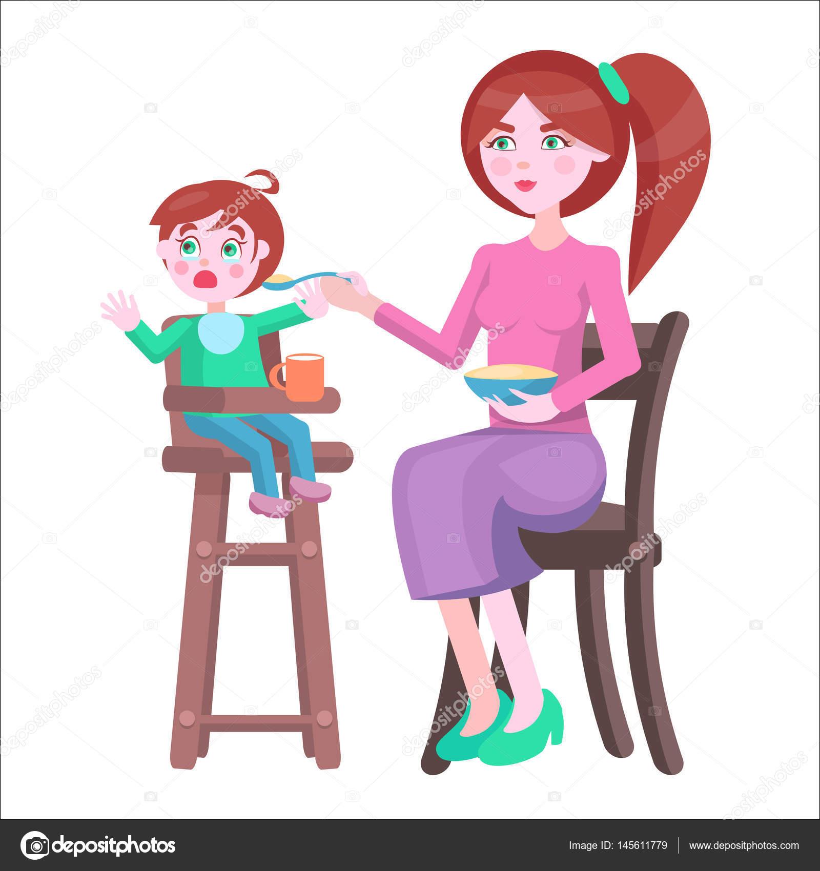 La madre alimenta beb que se sienta y llora en silla for Sillas para comer ninos 3 anos