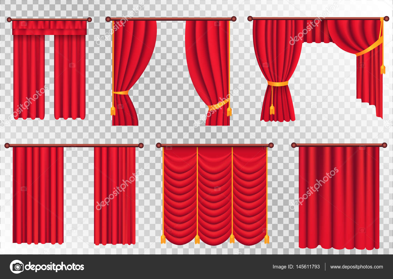 rode gordijnen set theater gordijn illustratie stockvector