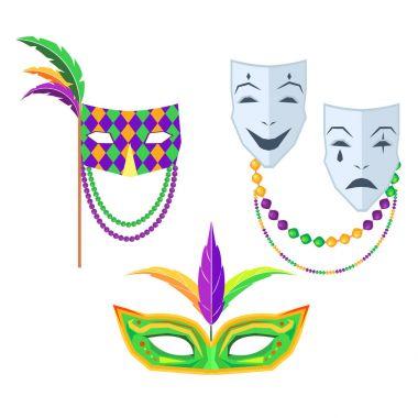 Mardi Gras. Carnival Masks Isolated Illustrations