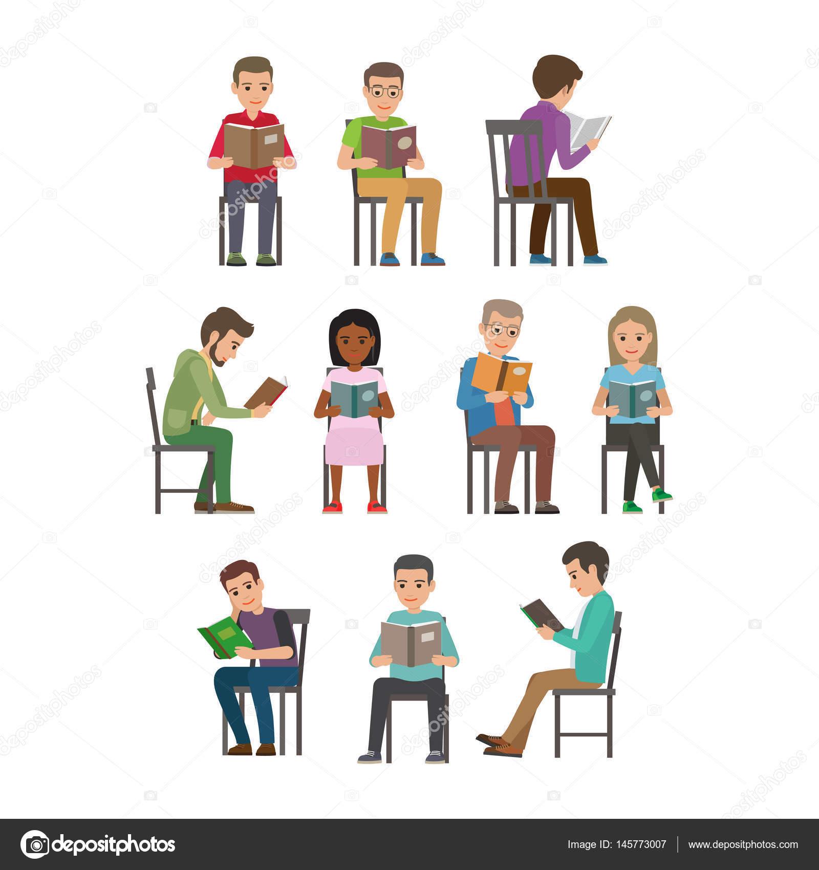 Foto Persone Sedute.Persone Sedute E Lettura Libro Di Testo Piatto Vettoriale