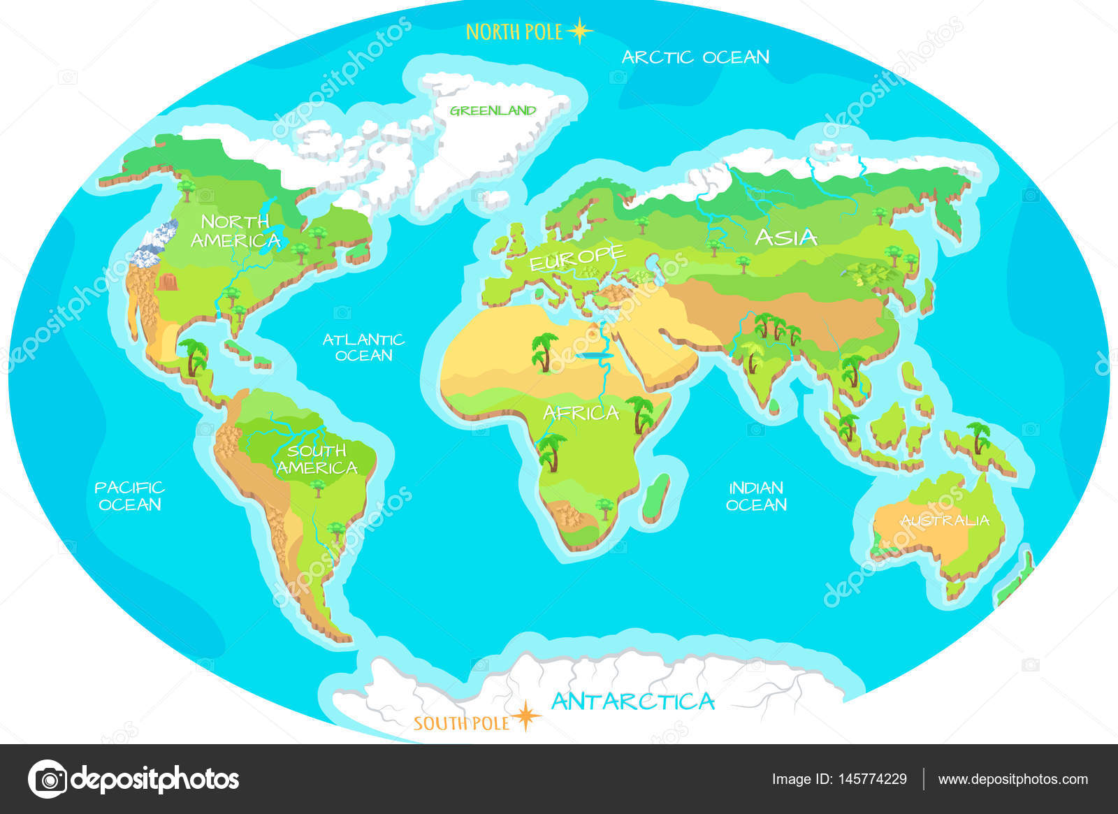 Continents oceans on map of world our planet stock vector continents oceans on map of world our planet stock vector gumiabroncs Images