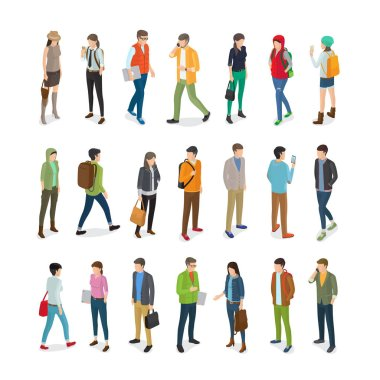 Teenagers Students Vector Flat Collection on White