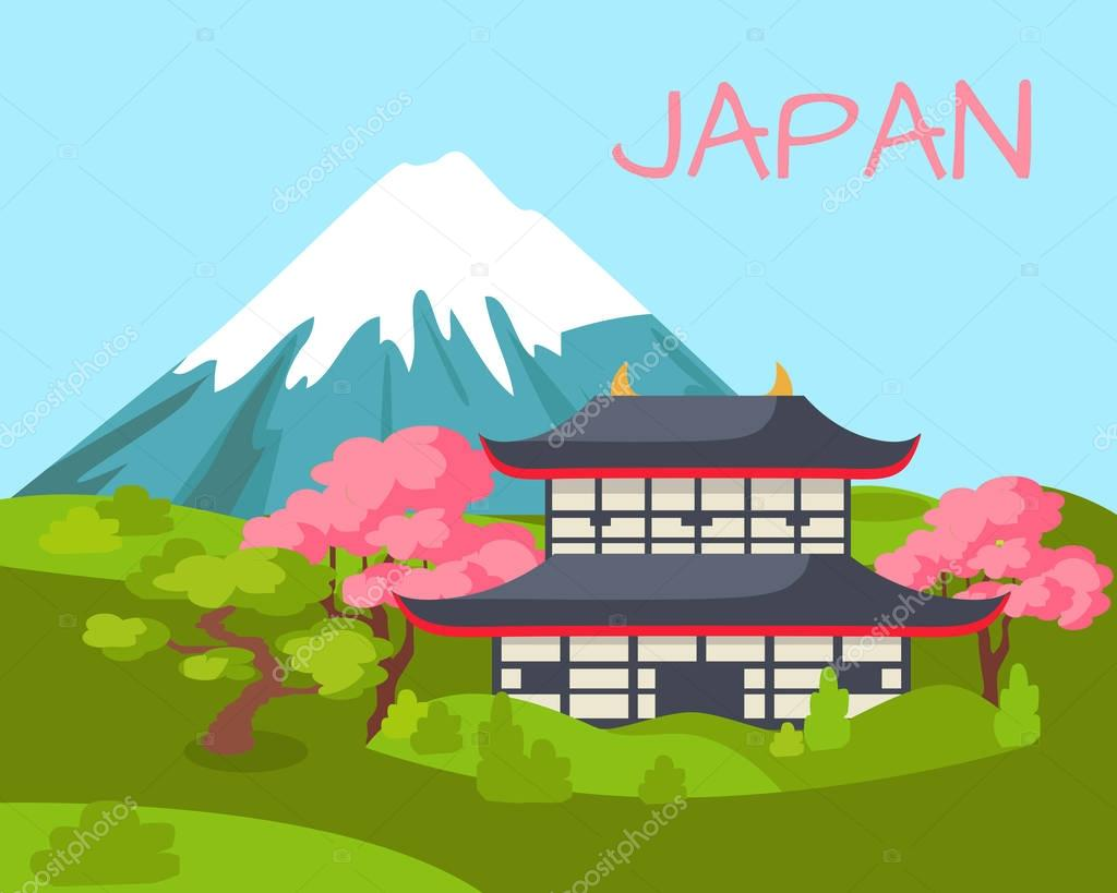 Japan View on Asian Building and Flowering Sakura