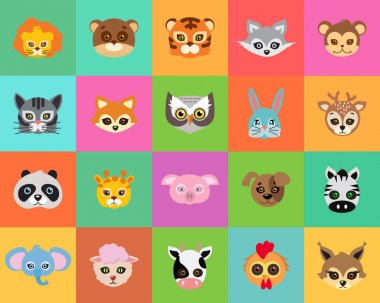 Animal Carnival. Collection of Cartoon Masks.