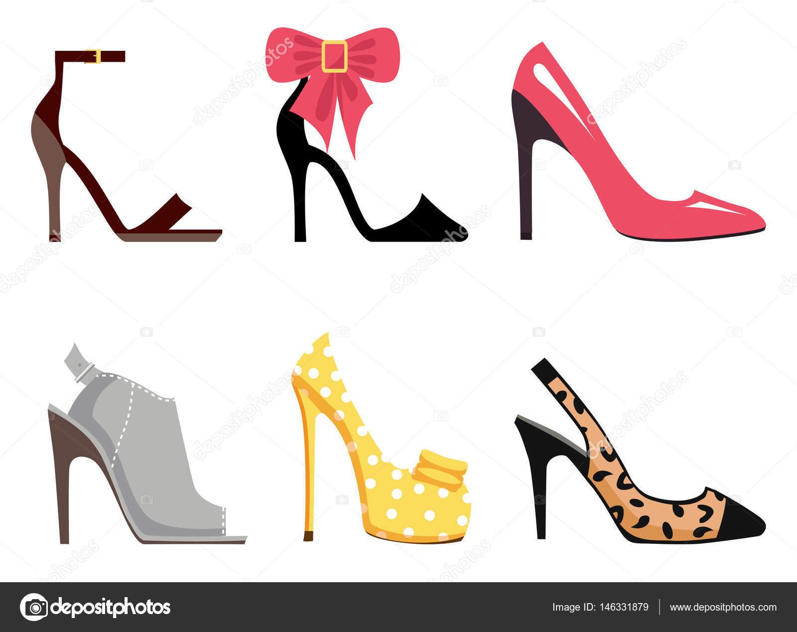 d1be93c1e2f4ac Взуття шкіряне жіноче набір з шести різних взуття кісточка ремінь, Scarpin,  Stiletto, мулів, насос і Slingback взуття на білому тлі.
