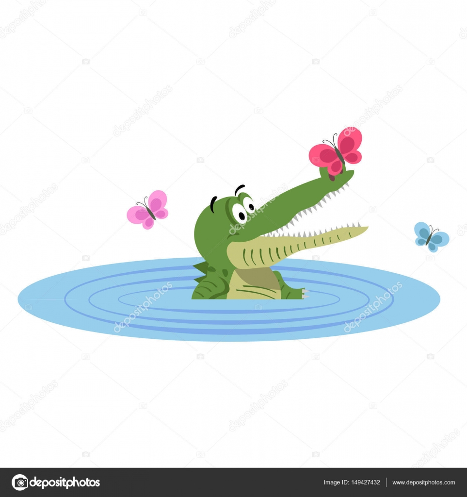 Cartone animato coccodrillo nuotare nel lago con la farfalla