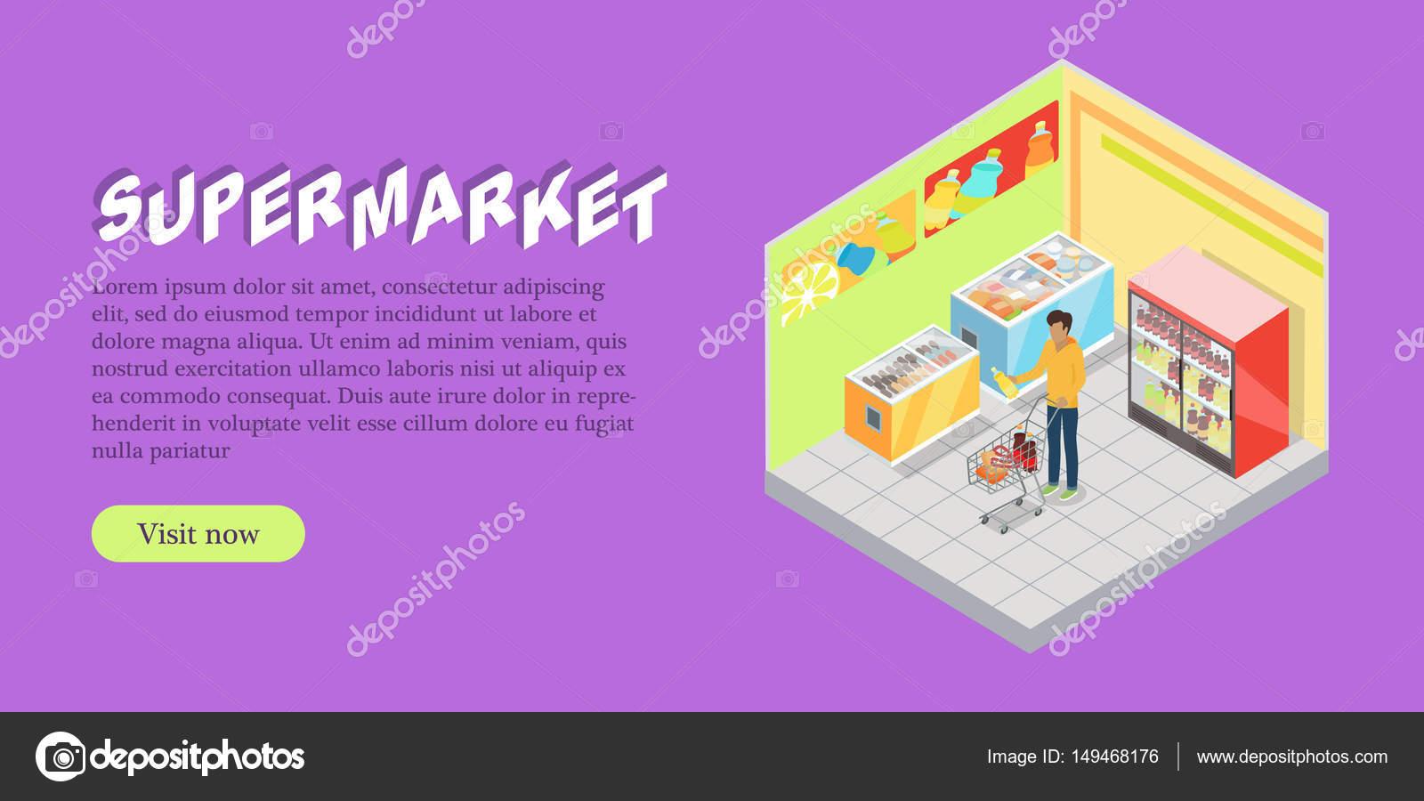dd380eb97d38 Departamento de supermercado isométrica Web Banner — Vetores de Stock