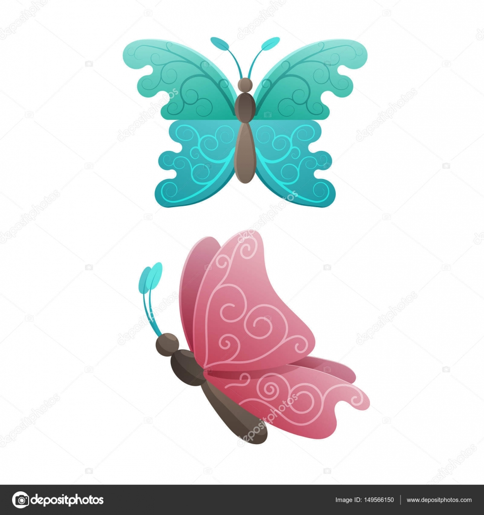 Colorful Butterflies in Pink and Blue Wings Colors — Stock Vector ...