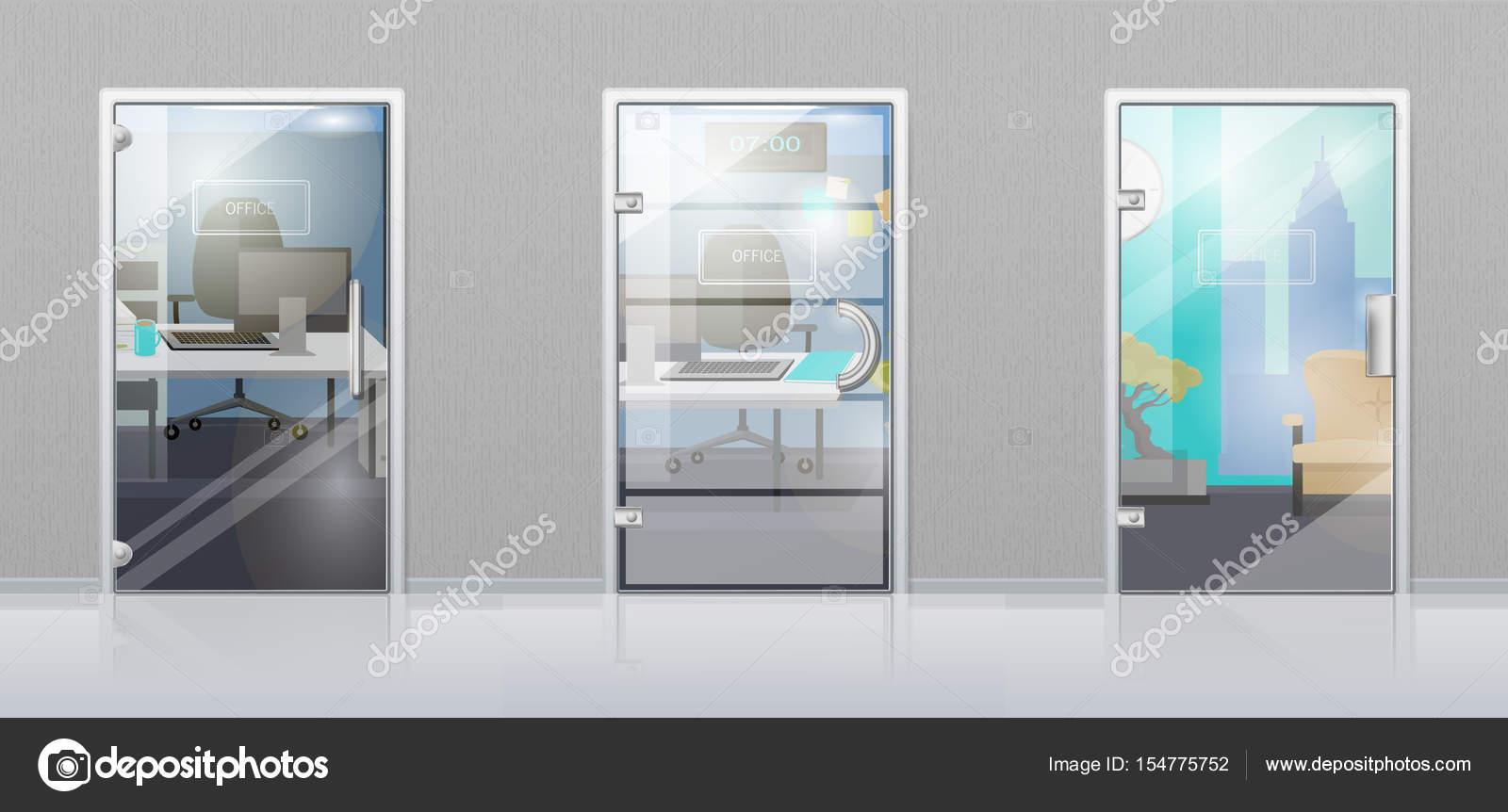 glass door office. Office Interior Through Glass Door Flat Vector \u2014 Stock