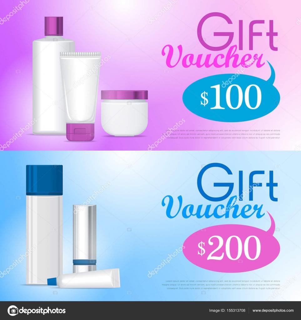 Bono de regalo en plantilla de diseño de la tienda de cosméticos ...