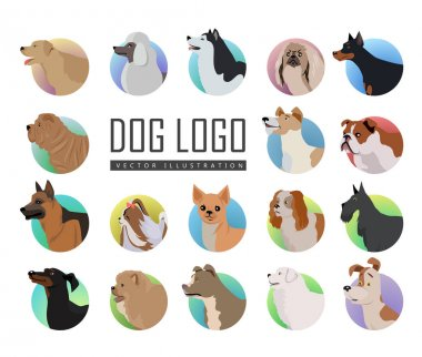 Set of Dog Vector Logos in Flat Style Design