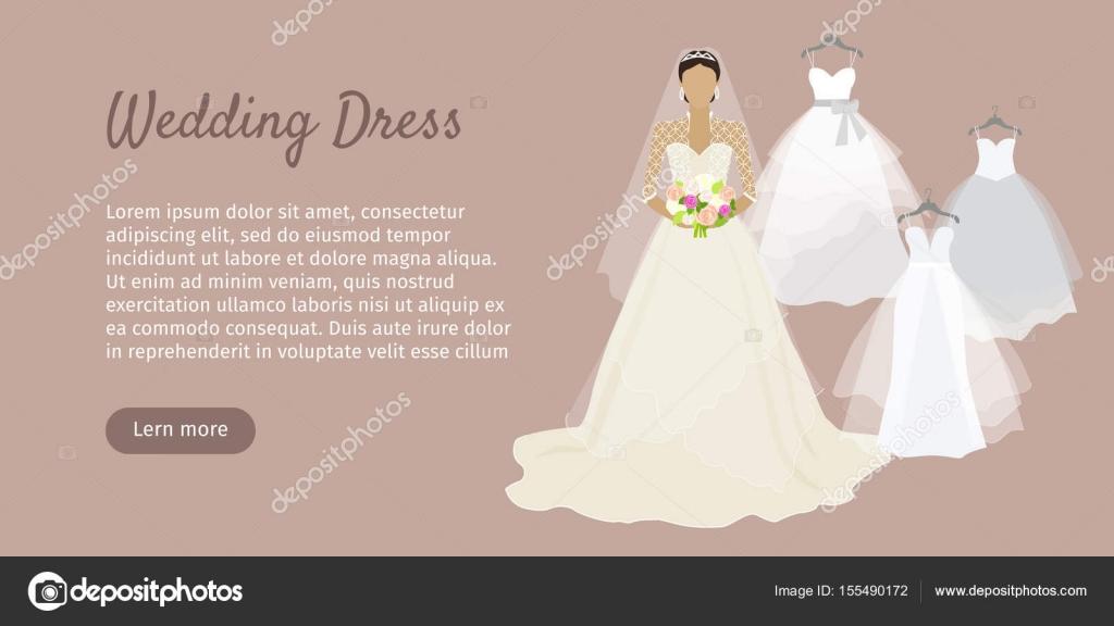 Banner de Web de vestido de novia. Novia moda Vector — Vector de ...