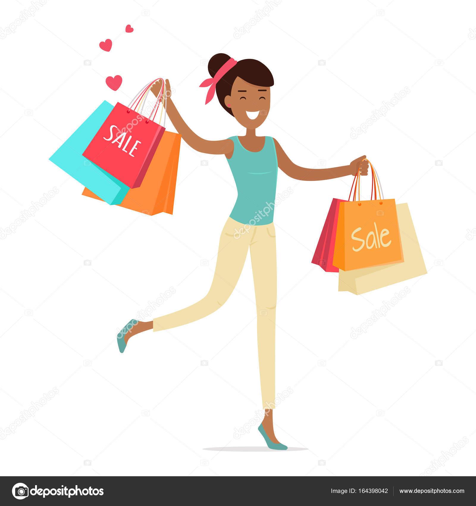 f2aff05bfd79 Πώληση στο κατάστημα Γυναικεία ρούχα. Χαμογελαστή κυρία χορό με ψώνια χαρτί  σακούλες στα χέρια επίπεδη διανυσματικά εικονογράφηση σε άσπρο φόντο.