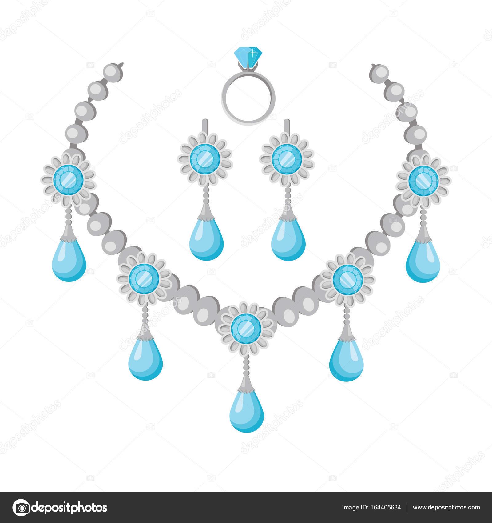 8b89864f3709 Collar de piedras preciosas vector diseño plano. Hermosa joyería con gemas.  Regalo romántico aniversario. Ilustración para la joyería tienda publicidad.