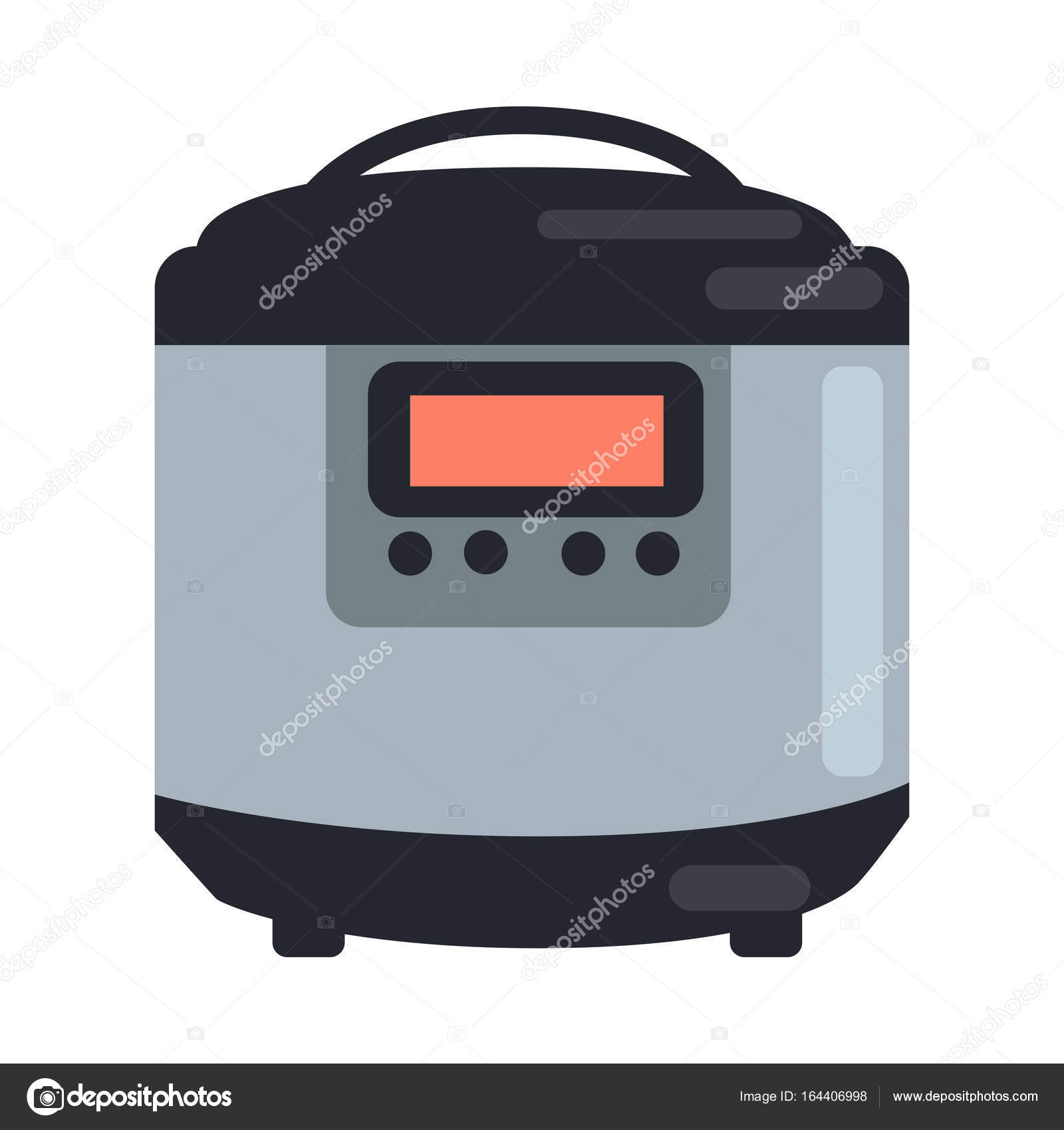 Slow Cooking Crock Pot Isolated on White. Steamer — Stock Vector ...