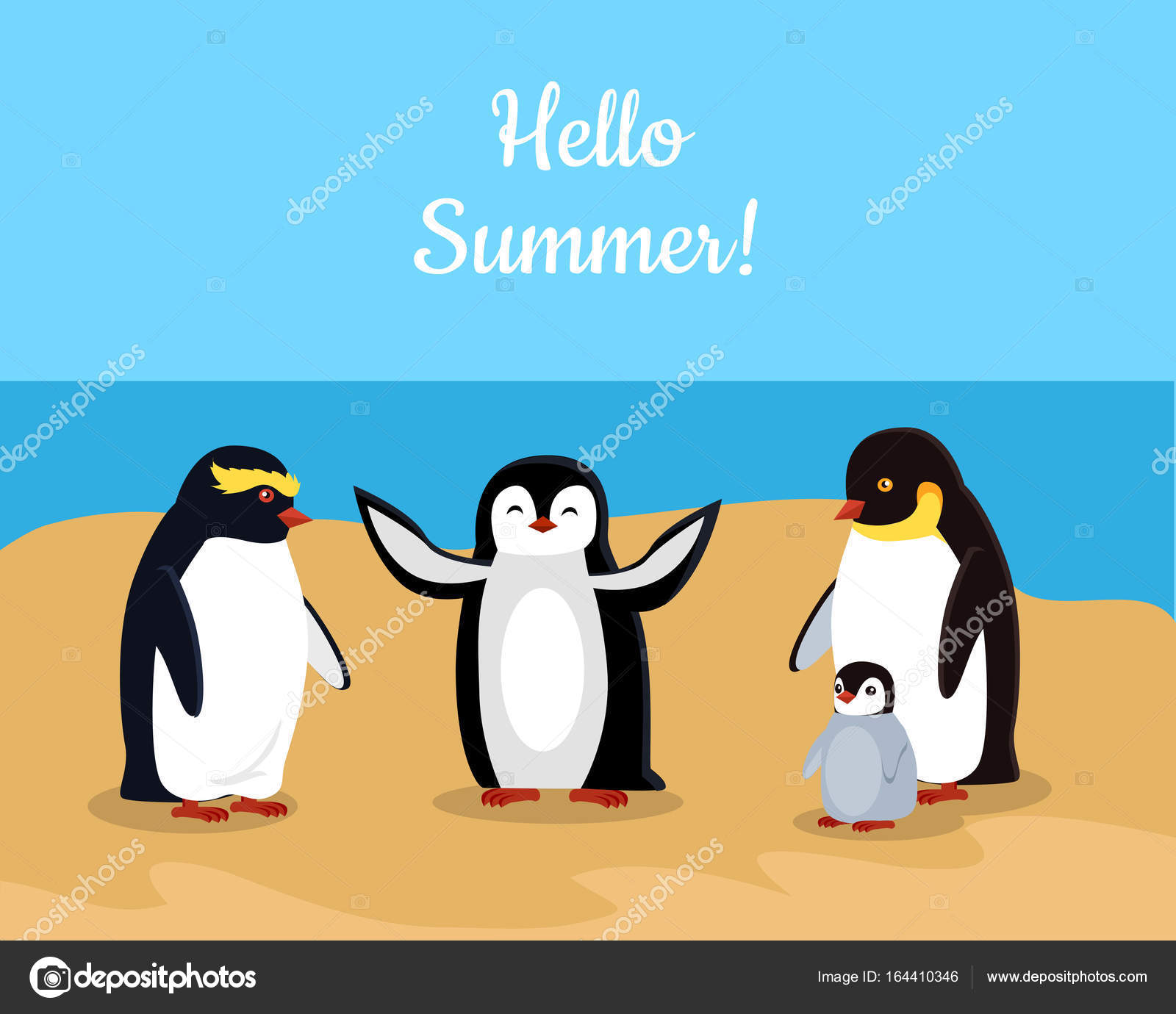 Hello Summer. Funny Emperor Penguins Family U2014 Stock Vector