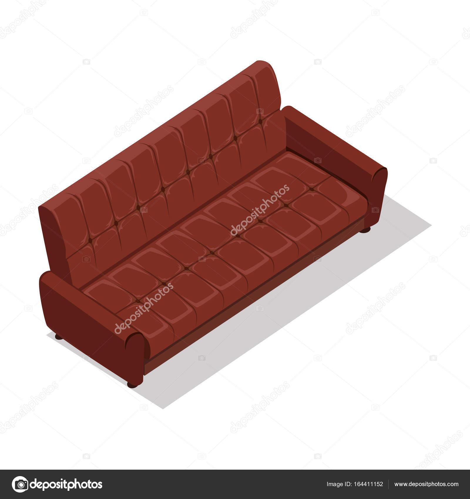 Luxus Ledersofa. Für Moderne Zimmer Rezeption Oder In Der Lounge. Sofa Im  Flat Design. Wohnzimmer Haus Möbel. Detailliertes Modell Abbildung.
