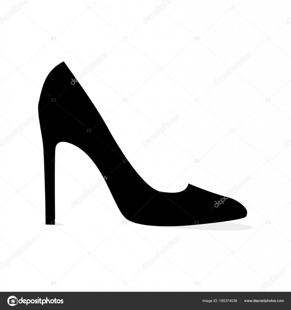 Schwarze moderne Stiletto Schuh isoliert Silhouette