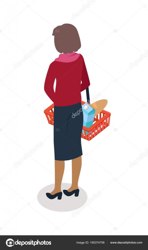 Frau mit Korb kaufen täglich Produkte Vektor — Stockvektor © robuart ...
