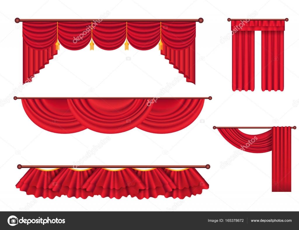 Brede rode gordijnen en Lambrequins Vector Set — Stockvector ...