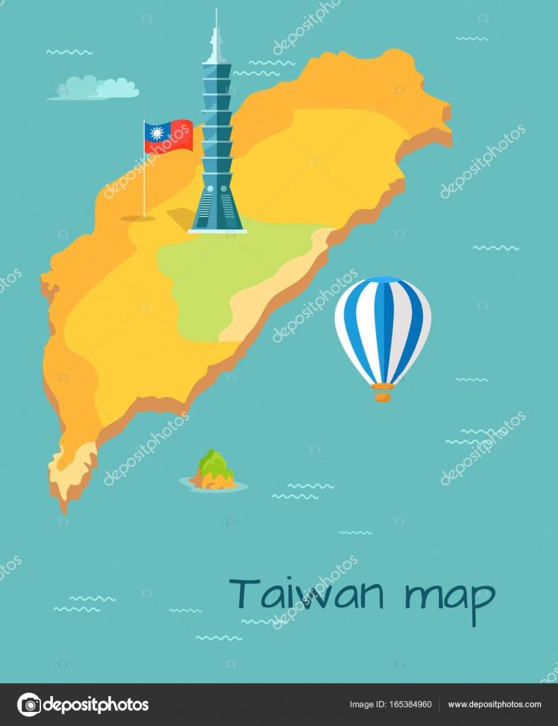 Taiwan Map High Taipei Flag of Island Balloon Stock Vector