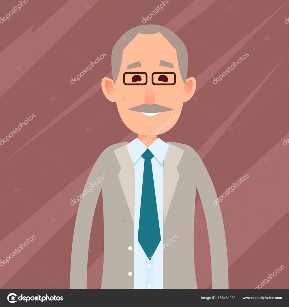 Antiguo personaje masculino con la ilustración de bigote — Vector de ... 098968e8339