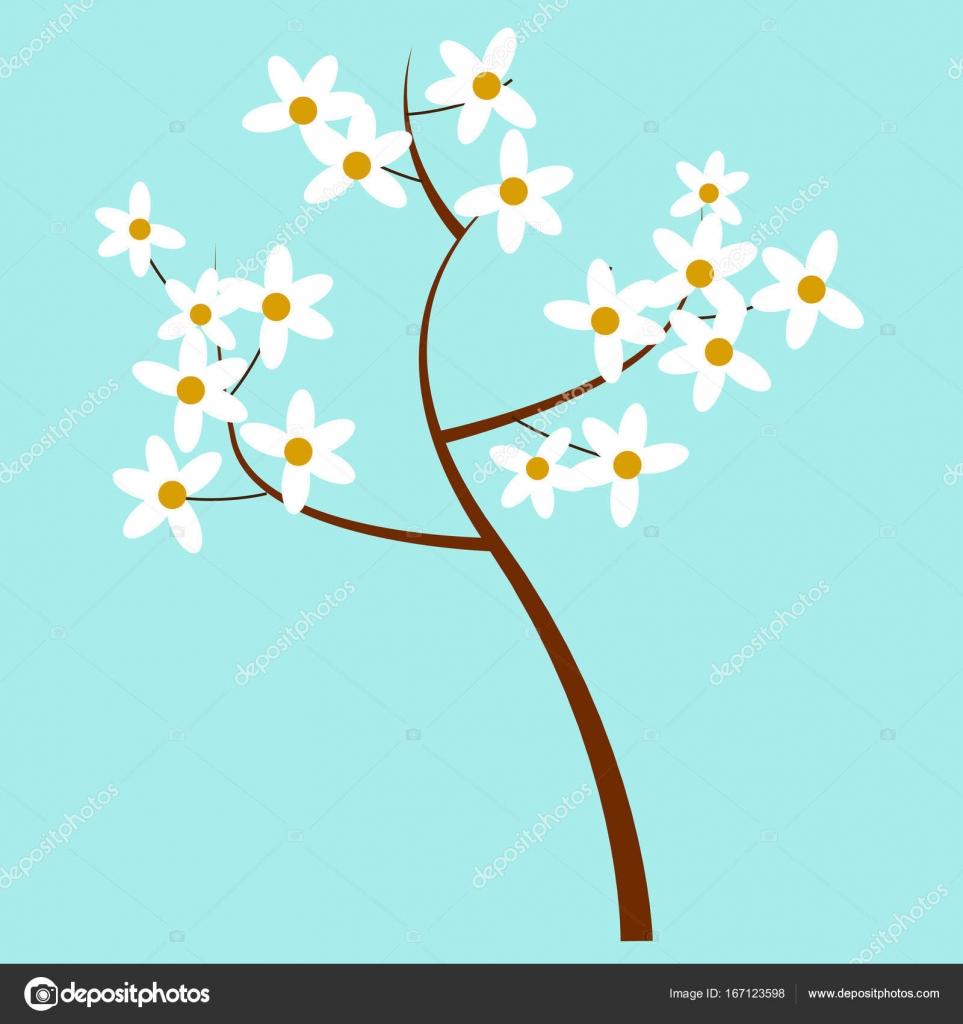 Dessin Anime Printemps Fleur Arbre Isole Illustration Image
