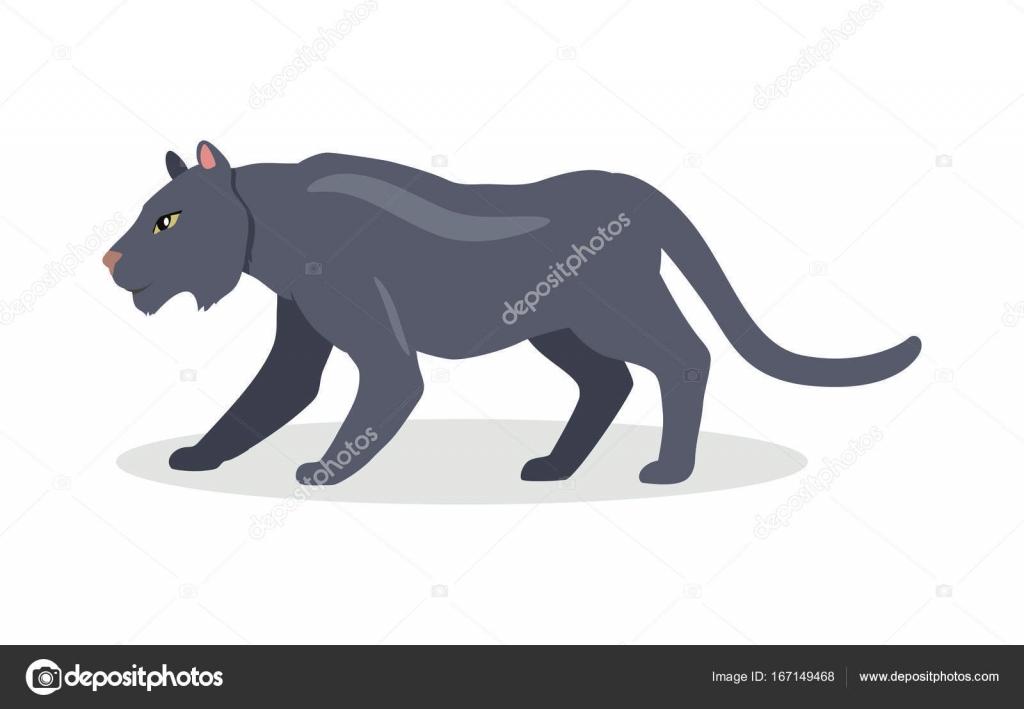 Jaguar Negro Cartoon ícone Em Design Plano U2014 Vetores De Stock