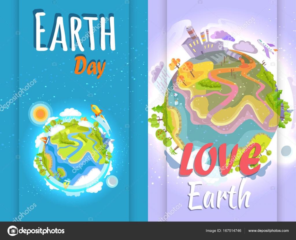 Sauber und verschmutzten Planeten Erde Tag Banner — Stockvektor ...